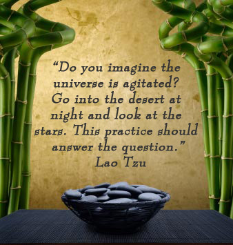 Do you imagine the universe is agitated? Go into the desert at night and look at the stars. This practice should answer the question. -Lao Tsu